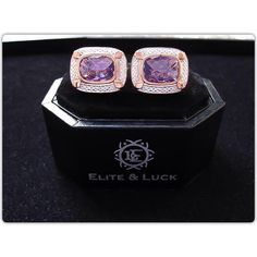 "Ensure a prosperous business and more wealth with ""Elite & Luck"" Amethyst Sterling Silver Cufflinks, Rose Gold & Rhodium plated, Luxury Model. Available now at www.eliteandluck.com"