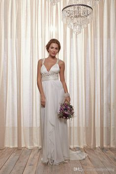 Wholesale V Neck Wedding Dress - Buy Belle Ivoire Collection Beads V-neck Sash Chiffon Court Train Informal Sheath Style Wedding Dress Bridal Gown Anna Campbell Custom Made, $138.65 | DHgate