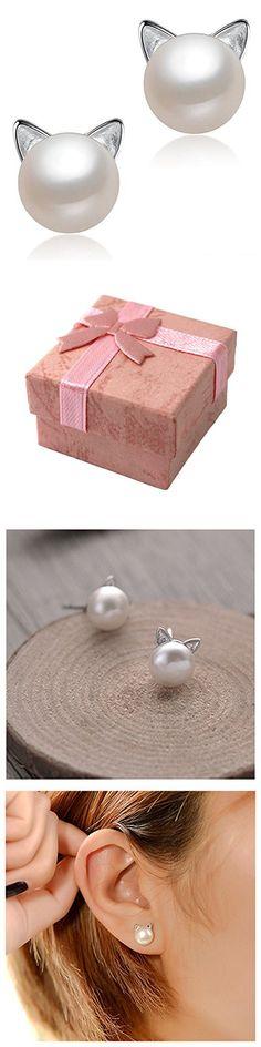WRISTCHIE Cat Ear Stud Earrings Freshwater Cultured Pearl Stud Earrings Sterling Silver