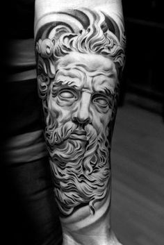 What does zeus tattoo mean? We have zeus tattoo ideas, designs, symbolism and we explain the meaning behind the tattoo. Zeus Tattoo, Statue Tattoo, Posseidon Tattoo, Tattoo Arm Mann, Leg Tattoos, Body Art Tattoos, Sleeve Tattoos, Tattoo On Leg Men, Tatto Man