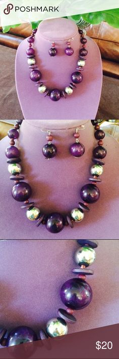 Retro Mod Statement Necklace & Earrings Big and bold, purple and silver, 20 inches with 3 inch extender Jewelry Necklaces
