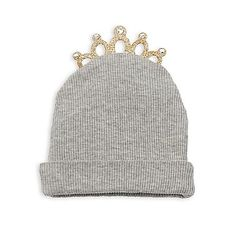 This adorable Tiara Cap celebrates your precious little girl's arrival in style. Designed to keep baby warm and cozy, this cotton ribbed cap features a glittering gold tiara with rhinestone accents, perfect for your little princess-in-training.