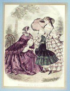 GRAVURE de MODE AUTHENTIQUE-N 56-MAGASIN DES DEMOISELLES-1859