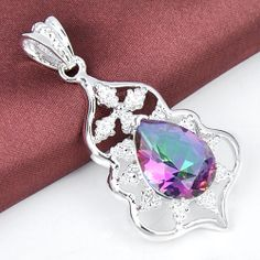 Gorgeous Natural Mystic Topaz Pear Pendant Set in Silver 2 in FREE SHIPPING #Pendant