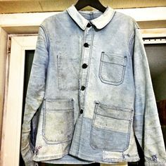 Vintage 1940s denim jacket french faded light blue, repaired work jacket by Le Mont St. Michel.