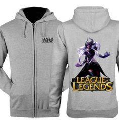 Oversized LOL Syndra zipper hoodie for men League of Legends game sweatshirts