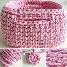Discover thousands of images about The best of t-shirt yarn is how fast you progress. Lo mejor del trapillo es que avanzas muy rápido.Crochet Basket with T-shirt yaFree crochet pattern: chunky crochet storage tubs - Mollie Makes Crochet Quilt, Diy Crochet, Crochet Crafts, Crochet Stitches, Crochet Projects, Crochet Bowl, Crochet Basket Pattern, Knit Basket, Crochet Patterns