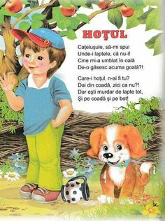 Hoțul poezie copii Teaching Activities, Educational Activities, Toddler Activities, Kids Poems, Worksheets For Kids, Baby Play, Kids Education, Nursery Rhymes, Projects For Kids