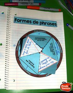 Les formes de phrases dans un cahier de notes interactif
