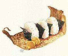♨ Onigiri illustration by Yoshiyuki Osaki Food Design, Art Kawaii, Food Sketch, Watercolor Food, Food Painting, Food Drawing, Kitchen Art, Food Illustrations, Cute Food