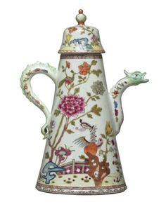 A FAMILLE ROSE CONICAL COFFEE-POT AND COVER  CIRCA 1740  The silver form showing a phoenix in a garden