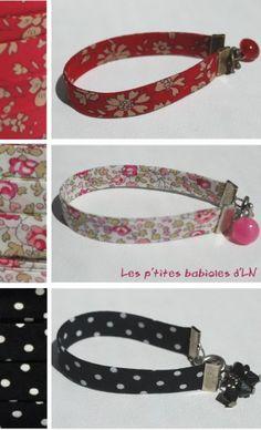 Bracelets en biais - Fourniture La Droguerie Leather Cord Bracelets, Beaded Bracelets, Jewelry Crafts, Handmade Jewelry, Bracelets Liberty, Diy Collier, Bijoux Fil Aluminium, Key Chain Holder, Fabric Yarn