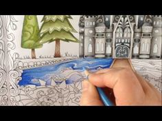 Part 3 - how to color water - coloring book enchanted forest - coloring with prismacolor pencils - YouTube