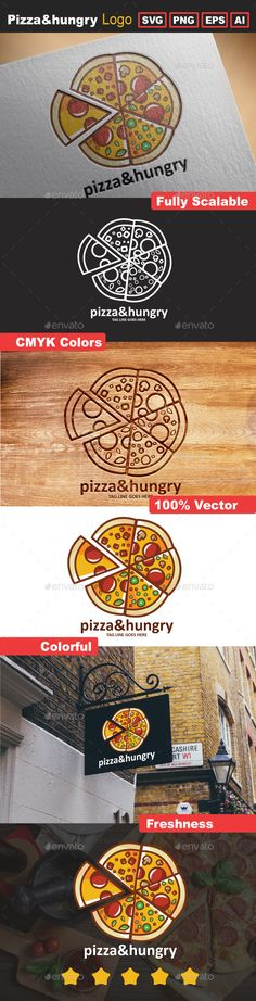 Pizza&Hungry Logo Template — Transparent PNG #recipe #healthy logo • Available here → https://graphicriver.net/item/pizzahungry-logo-template/15764477?ref=pxcr