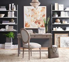 """Toulouse desk n Grey wash, Louis chair in Grey wash with Oatmeal Linen, Dalila Beaded crystal chandelier, Olivia wall mounted shelves in silver, """"Soft Lights"""" art City Furniture, Office Furniture, Vintage Furniture, Cheap Furniture, Home Office Design, Home Office Decor, Home Decor, Office Ideas, Office Inspo"""