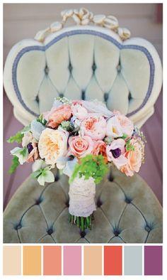 monochromatic palette | peach, pink, coral, purple, blue-grey