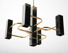 Sciolari (Attr) Black and Brass Chandelier