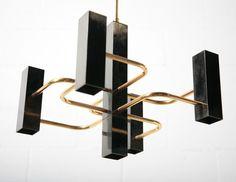 Sciolari (Attr) Black and Brass Chandelier