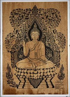 Thai traditional art of Buddha by silkscreen printing on sepia paper