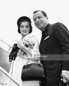Lord and Lady Ednam, Maureen Swanson and William Ward, boarding their plane bound for Italy, at London Airport, August 25th 1961.