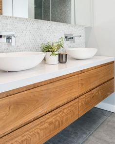 neutral bathroom design, modern farmhouse bathroom with white walls andfloating bathroom vanity with vessel sink and hex tile Laundry In Bathroom, Bathroom Splashback, Bathroom Interior Design, Timber Vanity, Modern Bathroom Design, Bathroom Layout, Wood Bathroom Vanity, Luxury Bathroom, Beautiful Bathrooms