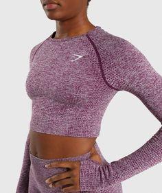 Gymshark Vital Seamless Longsleeve on Mercari Nylons, Magenta, Purple, Shark Leggings, Active Wear, Tracksuit Bottoms, Workout Attire, Dresses Uk, Hoodie Sweatshirts