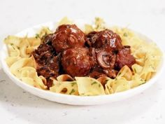 Veal and Pork Meatballs with Mushroom Gravy and Egg Noodles from CookingChannelTV.com
