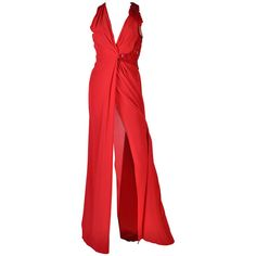 Preowned New Versace Embellished Red Silk Gown ($6,595) ❤ liked on Polyvore featuring dresses, gowns, gown, red, sexy dresses, sexy red dress, formal gowns, sexy formal dresses and red dress