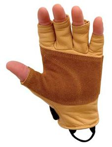 Metolius climbing gloves, with finger tips cut off for better tactile grip. Great for big wall climbing. Could also be great for camera work on a cold day. $30