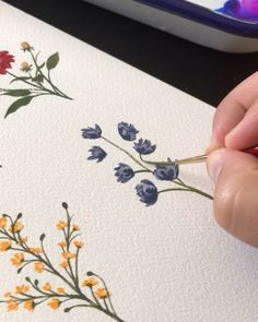 Watercolor And Ink, Watercolour Painting, Watercolor Flowers, Gouche Painting, Aesthetic Letters, Simple Acrylic Paintings, Guache, Flower Cards, Art Techniques