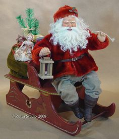 Winking Santa on sleigh © Rucus Studio 2008 Vintage Santas, Vintage Christmas, Father Christmas, Christmas Holidays, Childlike Faith, Scott Smith, Santa Decorations, Santa Doll, Santa Claus Is Coming To Town
