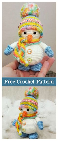 Crochet Toys Christmas Snowman Amigurumi Free Crochet Pattern - Here are 10 Crochet Amigurumi Snowman Free Patterns that you can use to easily make some snowmen. They are perfect projects for the holidays. Crochet Christmas Decorations, Crochet Decoration, Christmas Crochet Patterns, Holiday Crochet, Crochet Patterns Amigurumi, Knitting Patterns, Bag Crochet, Crochet Gratis, Crochet Amigurumi