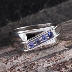 Tanzanite Platinum Over Sterling Silver Men's Ring
