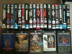Warner Home Video VHS boxes. When you went in the video rental shop, this was pretty much what all the tapes looked like.