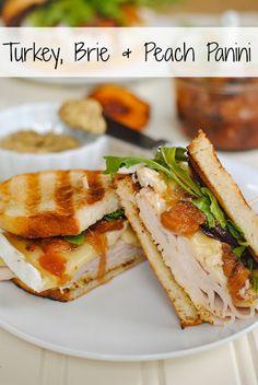 Turkey, Brie Peach Panini - a sweet, savory cheesy turkey sandwich…