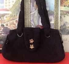 Hand Knit Felt Artisan Black Tote Bag Purse Organic Fashion Original Design