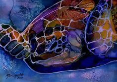 Magical Turtle 4 Original Alcohol Inks on Yupo Painting from Kauai Hawaii teal purple sapphire blue yellow