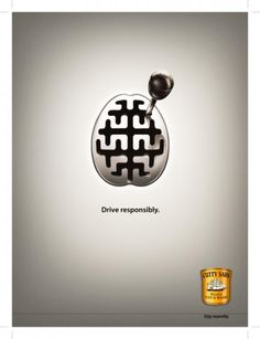 This poster, focuses more on the affects of alcohol on the brain, and how it can cause serious affects on the roads. The joystick shows the maze of gear changes and how much alcohol affects the brain. The brain is also the shape of the gearbox.
