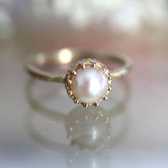 White Akoya Pearl 14K Gold Ring, Stacking Ring, Gemstone Ring, Engagement Ring, Crown Setting - Made To Order on Etsy, $195.00