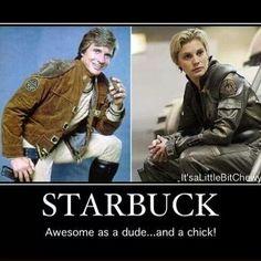 Starbuck battlestar Galactica - But better as a Woman 😄 Sci Fi Shows, Tv Shows, Battlestar Galactica Model, Kampfstern Galactica, Katee Sackhoff, Fantasy Tv, Best Sci Fi, Sci Fi Movies, Stupid Funny Memes