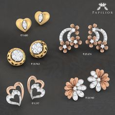 Buy gold and diamond earrings with latest designs at papilior. Cz Jewellery, Jewellery Designs, Earring Studs, Stud Earrings, Girls Earrings, Ear Rings, Trendy Jewelry, Pendant Set, Designer Earrings