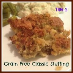 A stuffing compatible with Trim Healthy Mama! This Grain Free Classic Stuffing is an S on (Butter Chicken Low Carb) Trim Healthy Recipes, Trim Healthy Momma, Primal Recipes, Healthy Side Dishes, Low Carb Recipes, Cooking Recipes, Thanksgiving Side Dishes, Thanksgiving Recipes, Holiday Recipes