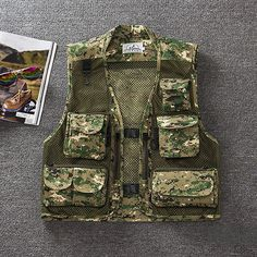 e81b633cded Mens Summer Outdooors Mesh Camouflage Solid Color Multi Pocket Fishing Vest  Photography Waistcoat Fishing Vest