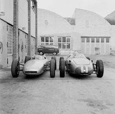 Porsche Formula 1  A 804 and a 787 outside Werk 1 (1962)