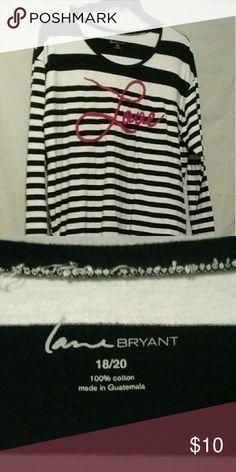 Love You Cute top stripe black/white. Soft. Fun to wear. 100% cotton! Lane Bryant Tops Blouses
