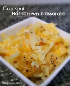 Crockpot Hashbrown Casserole. Yum!!! You had me at hash brown. =)