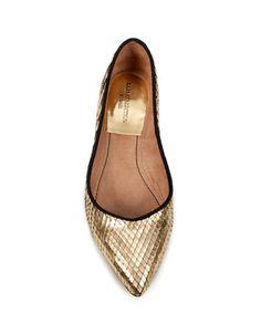metallic toe ballerina - zara shoes