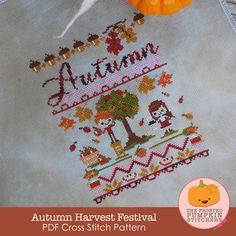 Autumn Harvest Festival PDF Cross Stitch Pattern / The Frosted Pumpkin Stitchery