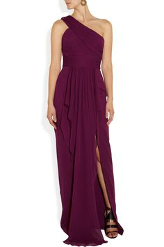 Notte by Marchesa One-shoulder draped silk-chiffon and silk gown NET-A-PORTER.COM