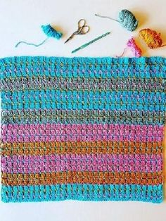 USA Jewells in the Sea Baby Blanket Crochet Pattern by Sharon Murphy